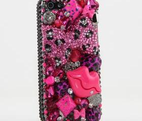 Bling Crystals Phone Case for iPhone 6 / 6s, iPhone 6 / 6s PLUS, iPhone 4, 5, 5S, 5C, Samsung Note 2, Note 3, Note 4, Galaxy S3, S4, S5, S6, S6 Edge, HTC ONE M9 (PINK LEOPARRD BOW AND LIPS DESIGN) By LuxAddiction