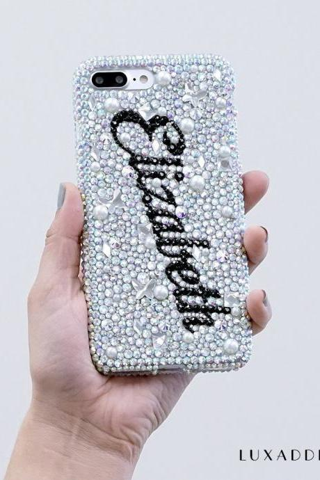 Personalized Name Initials Genuine Aurora Borealis Crystals Pearls Bling Case For iPhone X XS Max XR 7 8 Plus Samsung Galaxy S9 Note 9 / 8
