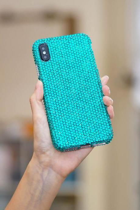 Bling Genuine Turquoise Crystals Case For iPhone X XS Max XR 7 8 Plus Samsung Galaxy S9 Note 9 8 Diamond Sparkle Easy Grip Protective Cover