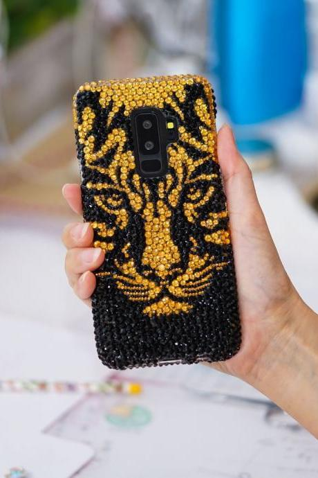 Bling Golden Tiger Genuine Crystals Case For iPhone X XS Max XR 7 8 Plus Samsung Galaxy S9 Note 9 / 8 Diamond Sparkle Easy Grip Cover