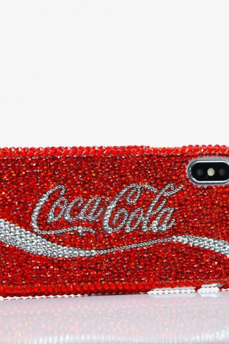 Bling Coca Cola Design Genuine Bright Red Crystals Case For iPhone X XS Max XR 7 8 Plus Samsung Galaxy S9 Note 9 / 8 Diamond Sparkle Cover