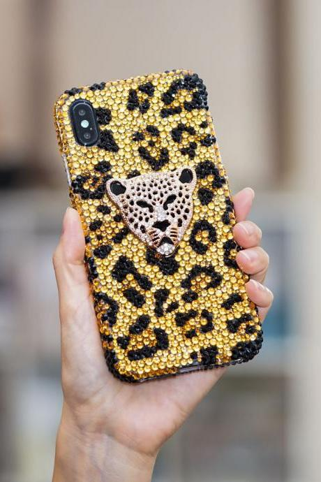 Bling Leopard Cheetah Genuine Gold Crystals Case For iPhone X XS Max XR 7 8 Plus Samsung Galaxy S9 Note 9 / 8 Diamond Sparkle Cover
