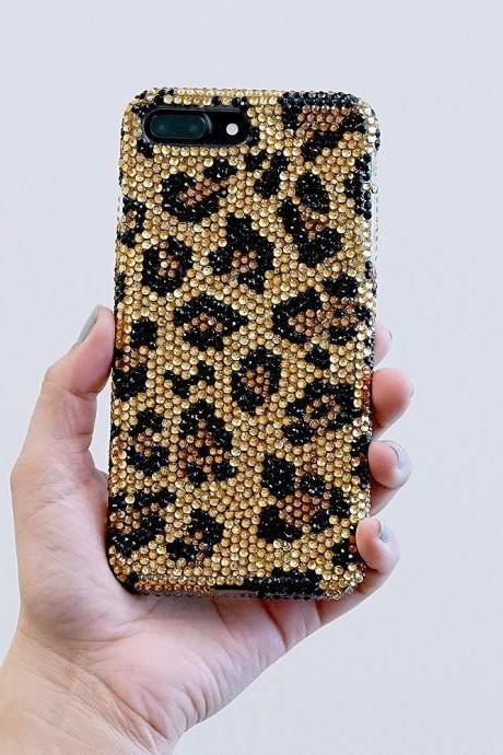 Bling Leopard Design Genuine Gold Brown Jet Black Crystals Case For iPhone X XS Max XR 7 8 Plus Samsung Galaxy S9 Note 9 / 8 Diamond Sparkle