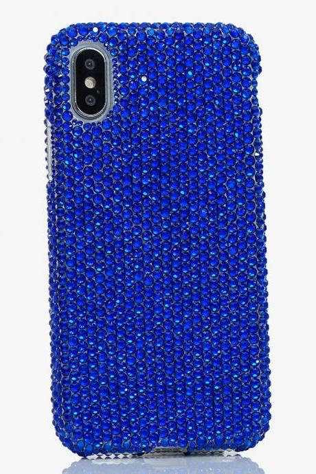 Bling Genuine Navy Blue Crystals Case For iPhone X XS Max XR 7 8 Plus Samsung Galaxy S9 Note 9 8 Diamond Sparkle Easy Grip Protective Cover