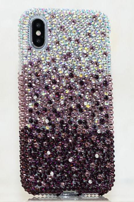 Bling Genuine AB Crystals Faded to Dark Purple Case For iPhone X XS Max XR 7 8 Plus Samsung Galaxy S9 Note 9 / 8 Diamond Sparkle Cover