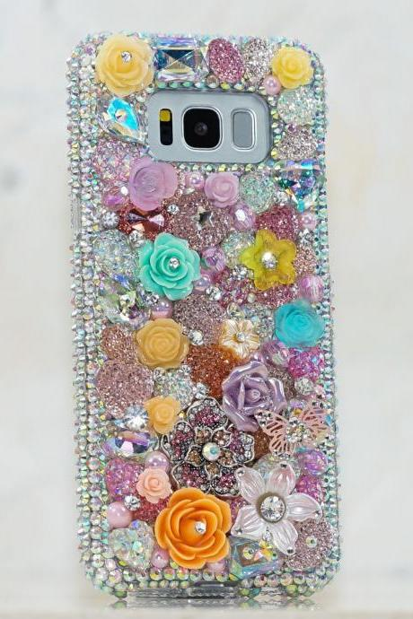 Genuine Crystals Case For iPhone X XS Max XR 7 8 Plus Samsung Galaxy S9 Note 9 Bling Diamond Sparkle Flower Orange Pink Purple Roses