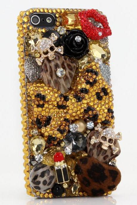 Genuine Crystals Case For iPhone X XS Max XR 7 8 Plus Samsung Galaxy S9 Note 9 Bling Diamond Sparkle Golden Leopard Bow Skull Red Lip Design