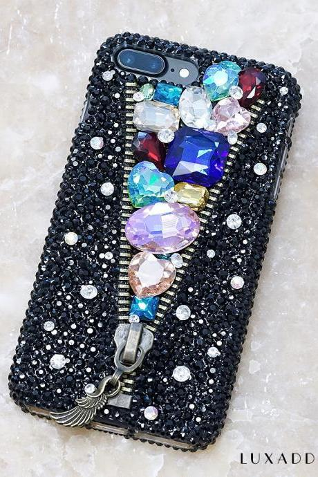 Zipper Design Rainbow Stones Genuine Crystals Diamond Sparkle Bling Case For iPhone X XS Max XR 7 8 Plus Samsung Galaxy S9 Note 9