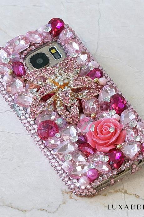 Pink Posies Diamond Roses Gen Stones Genuine Crystals Diamond Sparkle Bling Case For iPhone X XS Max XR 7 8 Plus Samsung Galaxy S9 Note 9