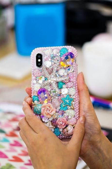 Golden Sea Star Reef Shell Pink Roses Genuine Crystals Diamond Sparkle Case For iPhone X XS Max XR 7 8 Plus Samsung Galaxy S9 Plus Note 9 8