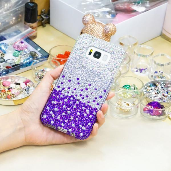 Bling Genuine Crystals AB Faded to Lavender Dark Purple Case For iPhone X XS Max XR 7 8 Plus Samsung Galaxy S9 Note 9 / 8 Diamond Sparkle
