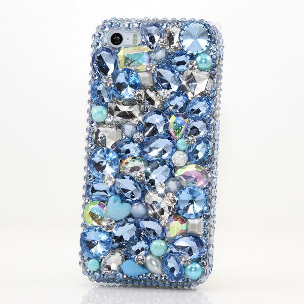 Bling Crystals Phone Case for iPhone 6 / 6s, iPhone 6 / 6s PLUS, iPhone 4, 5, 5S, 5C, Samsung Note 2, Note 3, Note 4, Galaxy S3, S4, S5, S6, S6 Edge, HTC ONE M9 (BABY BLUE STONES DESIGN) By LuxAddiction