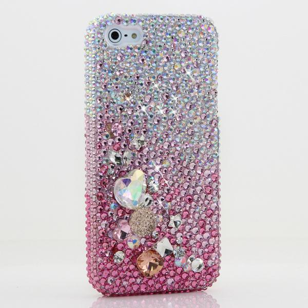 Bling Crystals Phone Case for iPhone 6 / 6s, iPhone 6 / 6s PLUS, iPhone 4, 5, 5S, 5C, Samsung Note 2, Note 3, Note 4, Galaxy S3, S4, S5, S6, S6 Edge, HTC ONE M9 (AB FADED TO PINK WITH 3D STONES DESIGN) By LuxAddiction